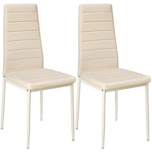 Helloshop26 Lot de 2 Chaises de Salle à Manger Salon Cuisine Design, Faux Cuir, Beige, 41 x 45 x 98,5 cm