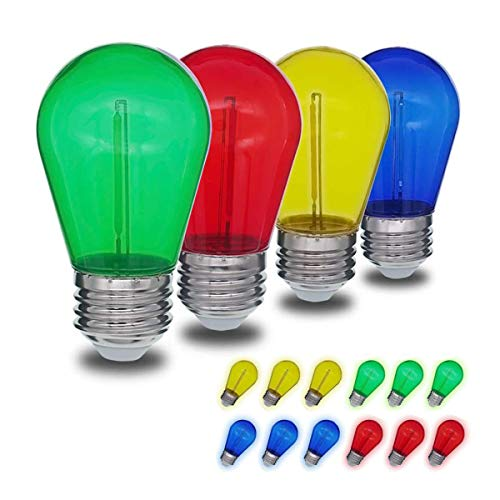 JSLINTER Colored String LED Light Bulbs - 1 watt Plastic Outdoor Indoor S14 Bulbs for Christmas String Light Replacement - Shatterproof - E26 Base - 16Pack - Red/Blue/Yellow/Green