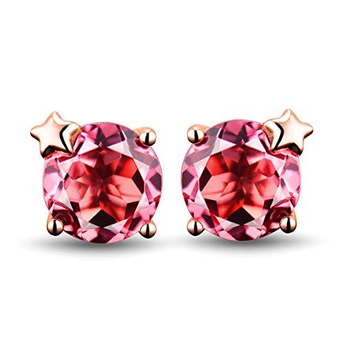 ANAZOZ Rose Gold Wedding Earrings Women,Rose Gold Earrings 18k Star with 1.56ct Round Cut Pink Tourmaline