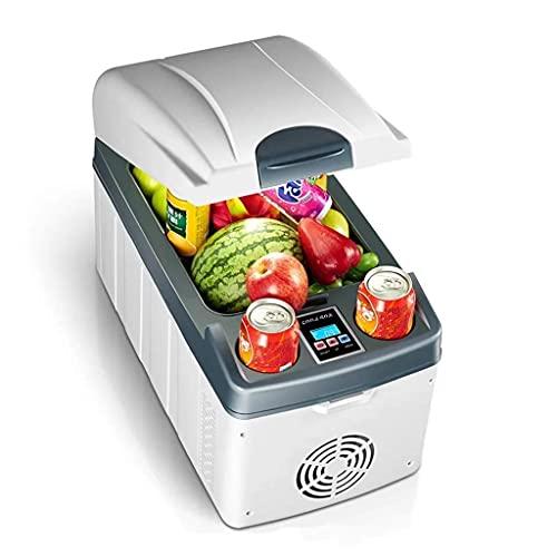 Pkfinrd Mini Nevera 20l automóvil Mini refrigerador Horizontal de Doble núcleo calefacción de enfriamiento rápido Puede congelar el hogar Refrigeración Digital Pantalla Blanca