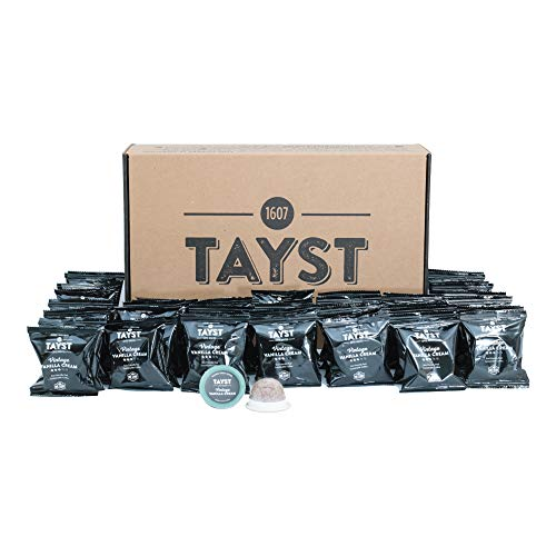 Tayst Coffee Pod Singles 48 count | Vintage Vanilla Cream | Individually Wrapped & Ready To Go |100% Compostable K-Cup | Gourmet Coffee in Earth Friendly Packaging