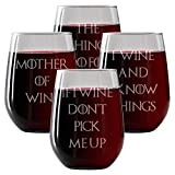 Wine Glasses Set of 4 Stemless Wine Glasses 17oz - Engraved- Drinkware | Funny Novelty gifts for Men and Women - Made in USA. Includes free Wine Food Pairing Card