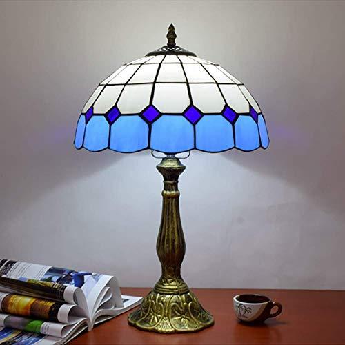 DIMPLEYA E27 Lámpara de Mesa de Estilo Azul de Tiffany, lámpara de mesita de Noche Antiguas de 48 cm.
