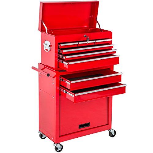 TecTake Werkzeugwagen mit Aufsatz | verschließbare Schubfächer | Kugelgelagerte Gleitschienen | -diverse Farbe- (Rot | Nr. 402802)