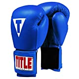 Title Classic Leather Elastic Training Gloves 2.0, Blue, 16 oz