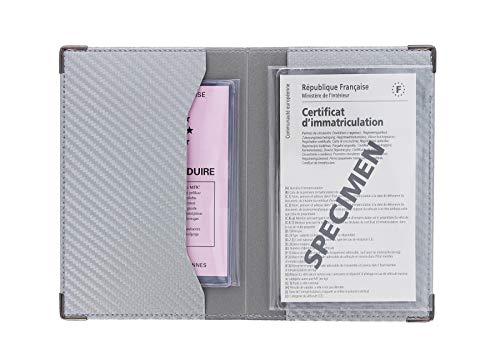 Color Pop Porte-Papiers Véhicule Finition Carbone Coloris Gris Argent + Étui Transparent pour Carte Grise