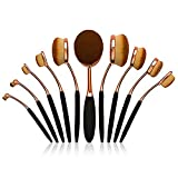 Kapmore Cepillos de Maquillaje,Brochas Ovaladas de Maquillaje Profesional Pinceles Maquillaje de Ojos Rubor Contorno de los Labios Corrector Brochas Cosm¨¦ticas 10PCS