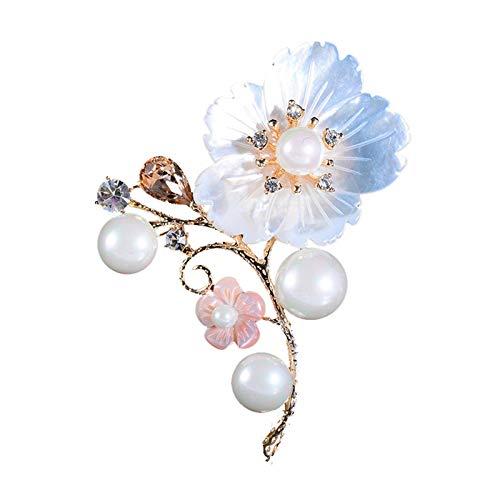 Baiyao Elegante broche de flor para mujer, perla de imitación de cristal para mujer, broche de banquete, pin de solapa, pin de boda para ropa, accesorios de joyería