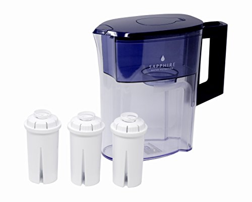 Sapphire Water Pitcher with 3 Filters, Clear Blue
