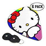 Rainbow Background Anime Hello Kitty Guitar Picks -for Electric Guitar Acoustic Guitar 6-String/4-String Guitar/Bass/Ukulele Guitar Pick Unique Guitar Gift Set 6 Pack/0.71mm