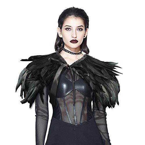 ANSUG Forme el mantón negro de la pluma, Gothic Natural Cape Wrap mano que cose los chales del collar del ahogador para la etapa del partido del vestido de cóctel