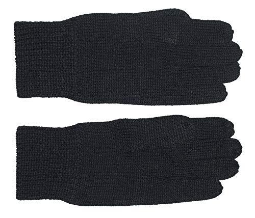 DIDSO Herren Strick Handschuhe ohne Futter, 3er-Pack, warm, sportlich, günstig, reduziert, Schwarz M