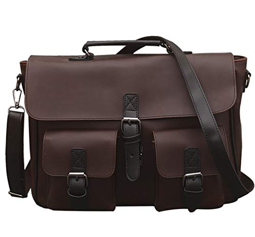 Berchirly Casual Men Pu Leather Bookbag Messenger Shoulder Bags Daypack Handbag