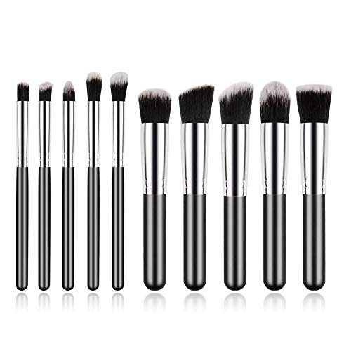 Makeup Brushes, Professional Small Makeup Brush Set for Blush Face Powder Eye Shadow Black Silver Cosmetic Brushes Kit Portable Travel Beauty Tools Set