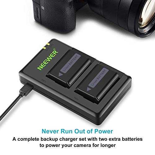 Neewer NP-FW50 Camera Battery Charger Set Compatible with Sony A6000, A6500, A6300, A6400, A7, A7II, A7RII, A7SII, A7S, A7S2, A7R, A7R2, A55, A5100, RX10(2-Pack, Micro USB Port, 1100mAh)