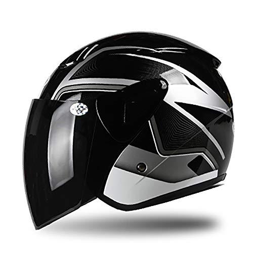 Verano Personalidad Peso Ligero Casco Moto Abierto, Desmontable Transpirable Hombres y Mujeres, ECE Certificado L-XL (53-60cm),blackgray2,XL