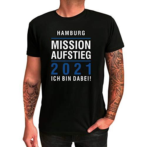 T-Shirt Hamburg | Mission Aufstieg 2021 | Ich Bin Dabei | Fanartikel - qualitativ hochwertig Bedruckt (L)