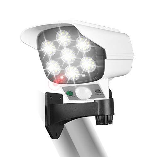 GOLDCHAMP Luz Solar con Control Remoto, Cámara Falsa, luz de Jardín con Sensor de Movimiento, luz Solar de Monitoreo de Simulación LED Para Exteriores con 3 Modos de Iluminación, Blanco, 77PCS LED