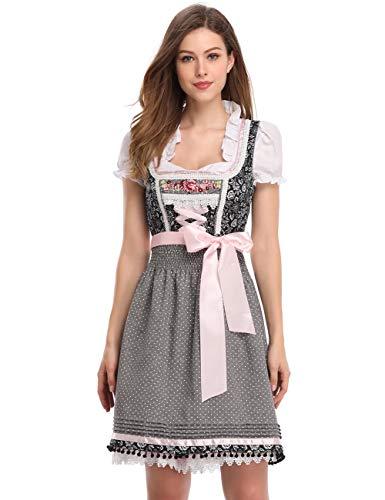 Clearlove Dirndl 3 tlg.Damen Midi Trachtenkleid für Oktoberfest- Spitzen Kleid, Bluse & Schürze, Grau Dot, 42