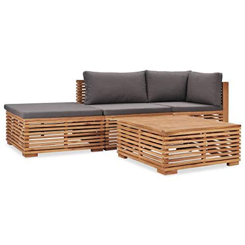vidaXL Teak Massiv Gartenmöbel 4-TLG. mit Auflagen Sofa Lounge Möbel Sitzgarnitur Gartengarnitur Sitzgruppe Gartenset Gartensofa Ecksofa Mittelsofa
