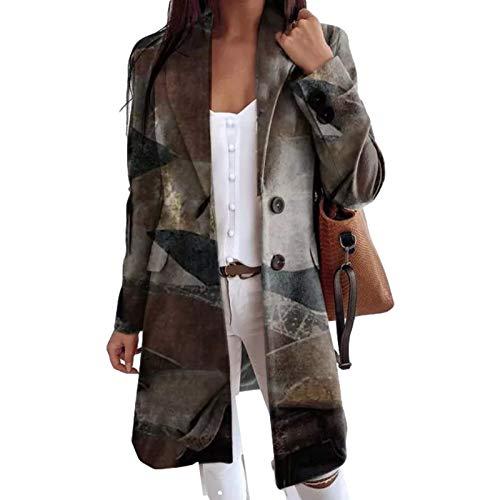 Katenyl Abrigo clásico de mezcla de un solo pecho a la moda para mujer, chaqueta cortavientos cálida y relajada con estampado de costura de ocio diario XL