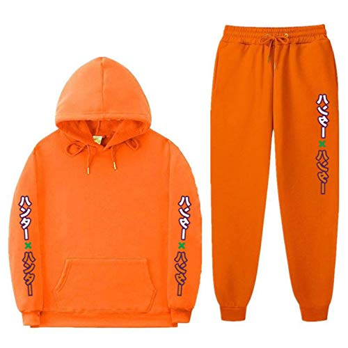Dannel Hunter X Hunter Print Sets Tracksuit Men Autumn Winter Hooded Sweatshirt Drawstring Outfit Fleece Oversized Boyfriend Sweatshirt