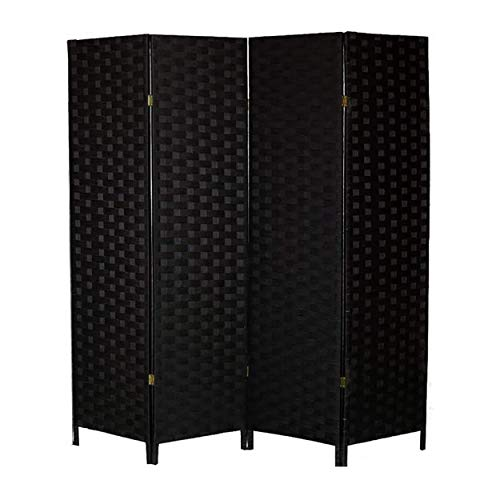 Hogar y Mas Biombo Separador de Ambientes Madera, Color Negro, Papel Trenzado, para Salón. Bastidor de Madera 180X180cm - 4 Paneles