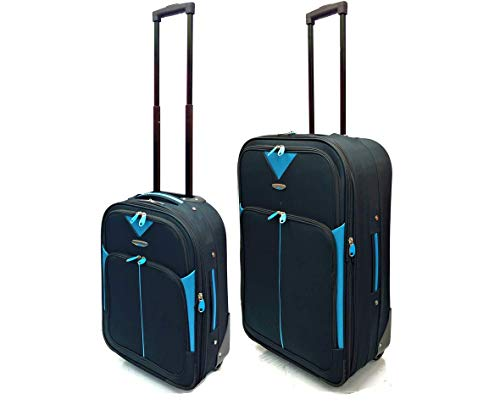 Set of 2 Bundle Pack - Ryanair & EasyJet Lightweight Expandable Cabin Approved Trolley 2 Wheeled Luggage Bag + Matching Medium Expandable 26'/75L Suitcases (18' Ryanair + 26' Medium, Black/Blue)