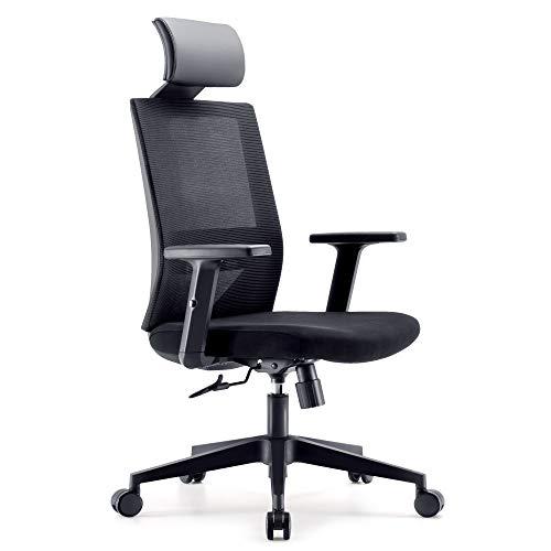 SIHOO Bürostuhl, ergonomischer Schreibtischstuhl, Drehstuhl mit hoher Rückenlehne, Lordosenstütze, verstellbare PU-Kopfstütze, Armlehnen- und Wippenfunktion, Home-Office-Stuhl aus Mesh (schwarz)