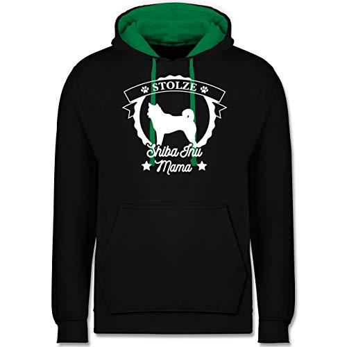 Geschenk für Hundebesitzer - Stolze Shiba Inu Mama - S - Schwarz/Grün - JH003_Hoodie_Unisex - JH003 - Hoodie zweifarbig und Kapuzenpullover für Herren und Damen