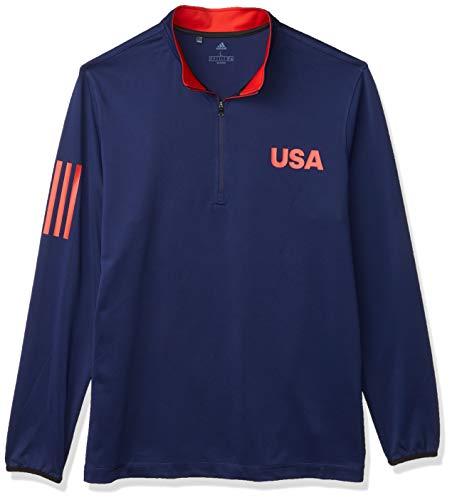 adidas USA Golf - Cremallera Ligera para Hombre, USA Golf - Camiseta de Golf Ligera, Hombre, Color Azul Oscuro/Blanco, tamaño XXL