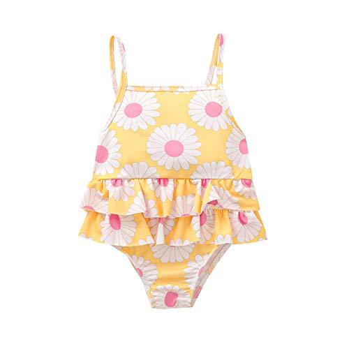 SolaXii Traje de baño de una pieza para verano de Baby Gir, traje de baño hawaiano para la playa con protección UV 50+, con volantes margarita, para nadar o para la playa, de 1 a 6 años amarillo 90 cm