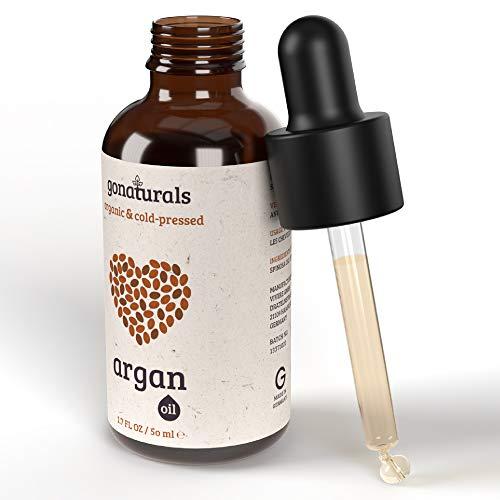 GoNaturals Aceite de Argan Puro 100%, Prensado en Frio - Aceite de Argan para el Pelo - Aceite Argan, Cuidado Manos y Pies - Aceite de Argan para la Cara, Efecto Antiedad - Argan Oil of Morocco, 50ml