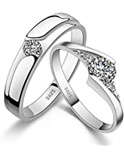 925 Sterling Silver Shining Diamond Wedding Gift Love Couple Ring Set cr1