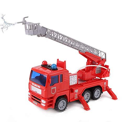 Toyland® Rotes Feuerwehrauto 25 cm mit ausziehbarer Leiter - Mit Lichtern und Geräuschen und echtem Sprinkler