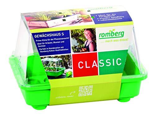 Romberg Gewächshaus S (Farbe grün, Wasserrinnen, Vertiefungen, Schieberegler in der Haube, Kunststoff PAK-frei) 10094100