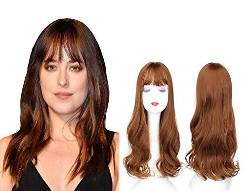 PLEASUR Topper ondulé 22 'Nature Look avec Frange Plate Clip de 22' en Morceau de Cheveux Longs pour Les Femmes aux Cheveux clairsemés 16M613