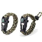 MUCHEN-SHOP Paracord Survival Armband,2er Pack Flechten Überlebens Armbänder für Camping Bushcraft Outdoor Ausrüstung mit Kompass...