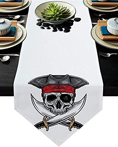 VJRQM Chemin de Table de Cuisine,crâne Pirate Couteau Toile de Jute Chemin de Table Commode Foulards pour dîner en Famille,fêtes extérieures/intérieures,Rassemblement,13x70 Pouces