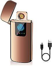 ASANMU Mechero Electrico USB Encendedor Electrico Pantalla Táctil Mechero USB Electric,sin Llama/a Prueba de Fuego/a Prueba de Viento/Indicador de Batería/Caja de Regalo,Regalos Originales para Hombre