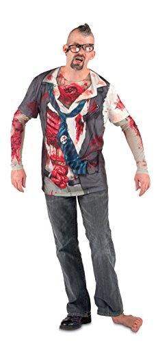 Boland- Maglia Fotorealistica Zombie con Maniche per Adulti, Nero/Rosso/Bianco, L, 84307
