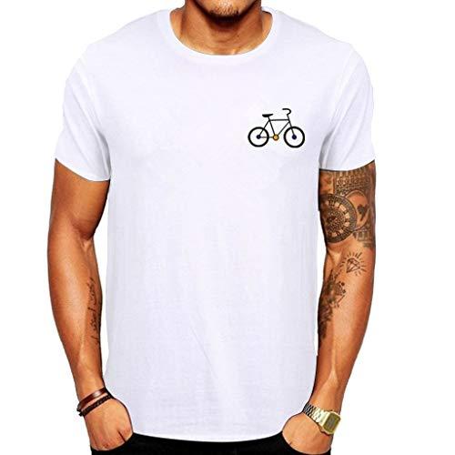 Aiserkly Herren Neue Sommer Cartoon Fahrrad Muster gedruckt T-Shirt Top Bluse Top Weiß L