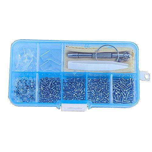 Xinlie Schroeven & moeren assortiment siliconen neuspads 102soorten kleine schroeven en neuspads set met 1 magnetische schroevendraaier 1 paar oorhaken 1 spiegeldoek1 pincet voor brillen (500st)