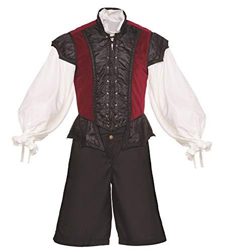 Men's Renaissance 3 Piece Ren Faire Doublet Costume Game of Thrones Cosplay (Small, Burgundy)