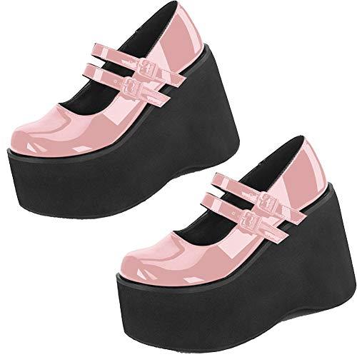CELNEPHO Mary Jane Zapatos para mujer, correa al tobillo, tacón alto, plataforma de cuña gótica Lolita, zapatos de vestir, (N-actualizado Rosa), 35.5 EU