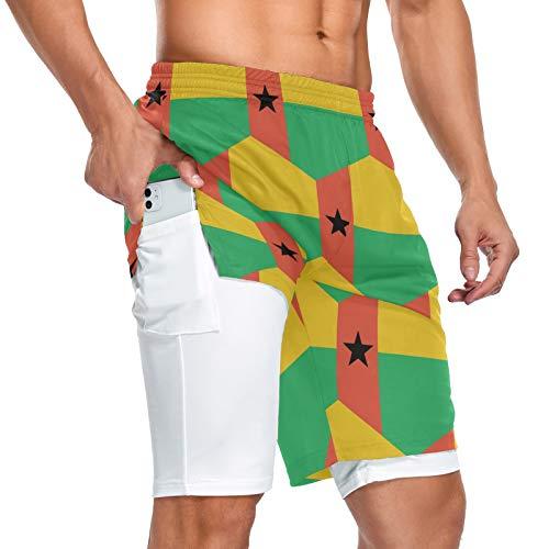 Pantalones cortos deportivos con bolsillo para hombre con bandera de Guinea Bissau