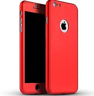 حافظة هاتف ابل ايفون 7 بلس (2016) 360 درجة لحماية الجزء الامامي والخلفي بالكامل مع واقي شاشة زجاجي- احمر