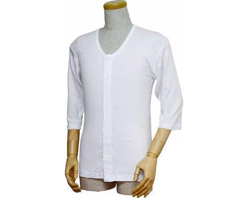 紳士前開きシャツ (ワンタッチテープ式) 七分袖  LL