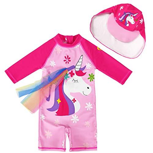 Flickor baddräkter småbarn en stycken solskydd badkläder snabbtorkande våtdräkter surfdräkt UPF 50+ UV soldräkt med badmössa
