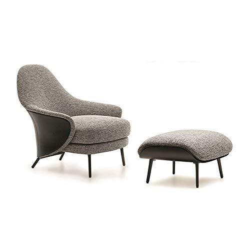 LC-SHBAGS Ohrensessel mit Hocker Moderner Sessel Stoffsessel Polstersessel Armlehnensessel Schlafzimmer Wohnzimmer Einzelschlafsessel Gray
